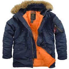 Куртка Alpha Industries SLIM FIT N-3B PARKA Blue/Orange мужская, S