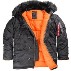 Куртка Alpha Industries SLIM FIT N-3B W PARKA Black/Orange женская, XS